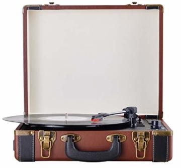 Plattenspieler Koffer | Schallplattenspieler | Turntable | Nostalgie Retro Plattenspieler im Koffer | Vinyl Player | Kofferplattenspieler | AUX IN | integrierte Lautsprecher | - 3
