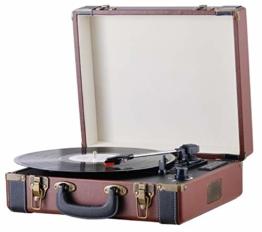 Plattenspieler Koffer | Schallplattenspieler | Turntable | Nostalgie Retro Plattenspieler im Koffer | Vinyl Player | Kofferplattenspieler | AUX IN | integrierte Lautsprecher | - 1