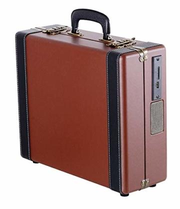 Plattenspieler Koffer | Schallplattenspieler | Turntable | Nostalgie Retro Plattenspieler im Koffer | Vinyl Player | Kofferplattenspieler | AUX IN | integrierte Lautsprecher | - 4