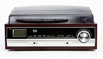 Plattenspieler mit Lautsprecher | Retro Schallplattenspieler | PLL Radio | Holz Nostalgie Musikanlage | Retroradio | AUX IN | Uhr mit Wecker | Uhrenradio | Sleep Timer | 3 Geschwindigkeiten 33/45/75 - 2