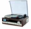 Plattenspieler mit Lautsprecher   Retro Schallplattenspieler   PLL Radio   Holz Nostalgie Musikanlage   Retroradio   AUX IN   Uhr mit Wecker   Uhrenradio   Sleep Timer   3 Geschwindigkeiten 33/45/75 - 1