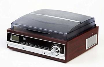 Plattenspieler mit Lautsprecher | Retro Schallplattenspieler | PLL Radio | Holz Nostalgie Musikanlage | Retroradio | AUX IN | Uhr mit Wecker | Uhrenradio | Sleep Timer | 3 Geschwindigkeiten 33/45/75 - 3