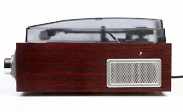 Plattenspieler mit Lautsprecher | Retro Schallplattenspieler | PLL Radio | Holz Nostalgie Musikanlage | Retroradio | AUX IN | Uhr mit Wecker | Uhrenradio | Sleep Timer | 3 Geschwindigkeiten 33/45/75 - 4