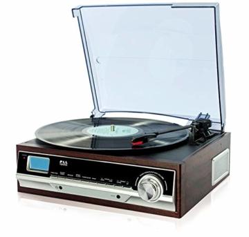 Plattenspieler mit Lautsprecher | Retro Schallplattenspieler | PLL Radio | Holz Nostalgie Musikanlage | Retroradio | AUX IN | Uhr mit Wecker | Uhrenradio | Sleep Timer | 3 Geschwindigkeiten 33/45/75 - 1