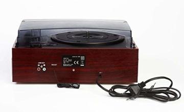 Plattenspieler mit Lautsprecher | Retro Schallplattenspieler | PLL Radio | Holz Nostalgie Musikanlage | Retroradio | AUX IN | Uhr mit Wecker | Uhrenradio | Sleep Timer | 3 Geschwindigkeiten 33/45/75 - 5