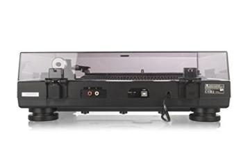 Plattenspieler - Riemenantrieb - USB-Anschluss - Digitalisierungsfunktion - Magnet-Tonabnehmer-System - 2 Geschwindigkeiten 33/45 U/min - Auflagekraft - Anti-Skating – Vorverstärker – Dual DT 250 - 2