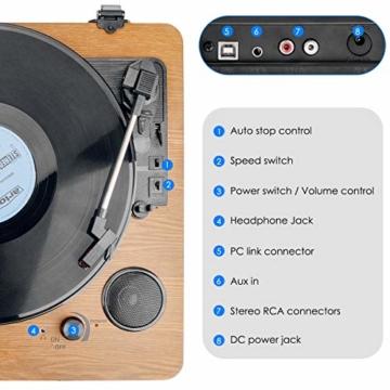Plattenspieler,VIFLYKOO Bluetooth Schallplattenspieler Vinyl Plattenspieler Turntable und Digital Encoder mit Lautsprecher Riemenantrieb Aux-In RCA 33/45/78 U/min - Naturholz - 2