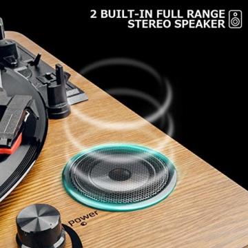 Plattenspieler,VIFLYKOO Bluetooth Schallplattenspieler Vinyl Plattenspieler Turntable und Digital Encoder mit Lautsprecher Riemenantrieb Aux-In RCA 33/45/78 U/min - Naturholz - 3
