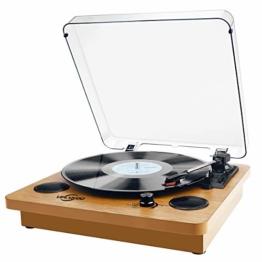Plattenspieler,VIFLYKOO Bluetooth Schallplattenspieler Vinyl Plattenspieler Turntable und Digital Encoder mit Lautsprecher Riemenantrieb Aux-In RCA 33/45/78 U/min - Naturholz - 1