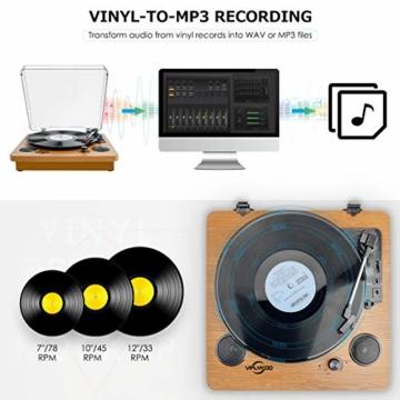 Plattenspieler,VIFLYKOO Bluetooth Schallplattenspieler Vinyl Plattenspieler Turntable und Digital Encoder mit Lautsprecher Riemenantrieb Aux-In RCA 33/45/78 U/min - Naturholz - 4