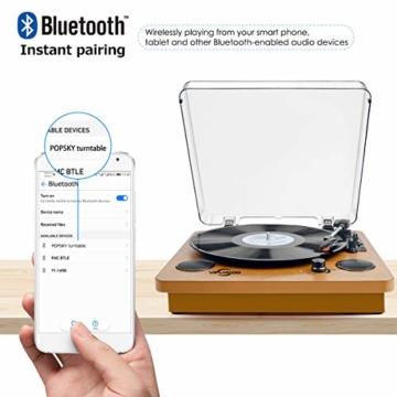 Plattenspieler,VIFLYKOO Bluetooth Schallplattenspieler Vinyl Plattenspieler Turntable und Digital Encoder mit Lautsprecher Riemenantrieb Aux-In RCA 33/45/78 U/min - Naturholz - 5