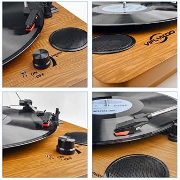 Plattenspieler,VIFLYKOO Bluetooth Schallplattenspieler Vinyl Plattenspieler Turntable und Digital Encoder mit Lautsprecher Riemenantrieb Aux-In RCA 33/45/78 U/min - Naturholz - 6