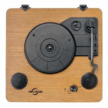 Plattenspieler,VIFLYKOO Bluetooth Schallplattenspieler Vinyl Plattenspieler Turntable und Digital Encoder mit Lautsprecher Riemenantrieb Aux-In RCA 33/45/78 U/min - Naturholz - 7